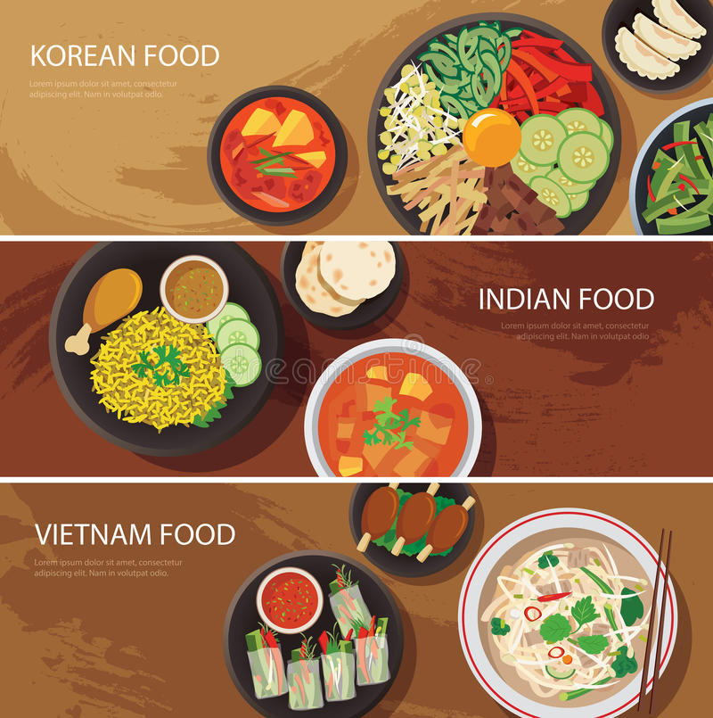 Free Asia Street Food Web Banner , Korean Food , Indian Food , Vietnam Food Flat Design Royalty Free Stock Images - 55908849