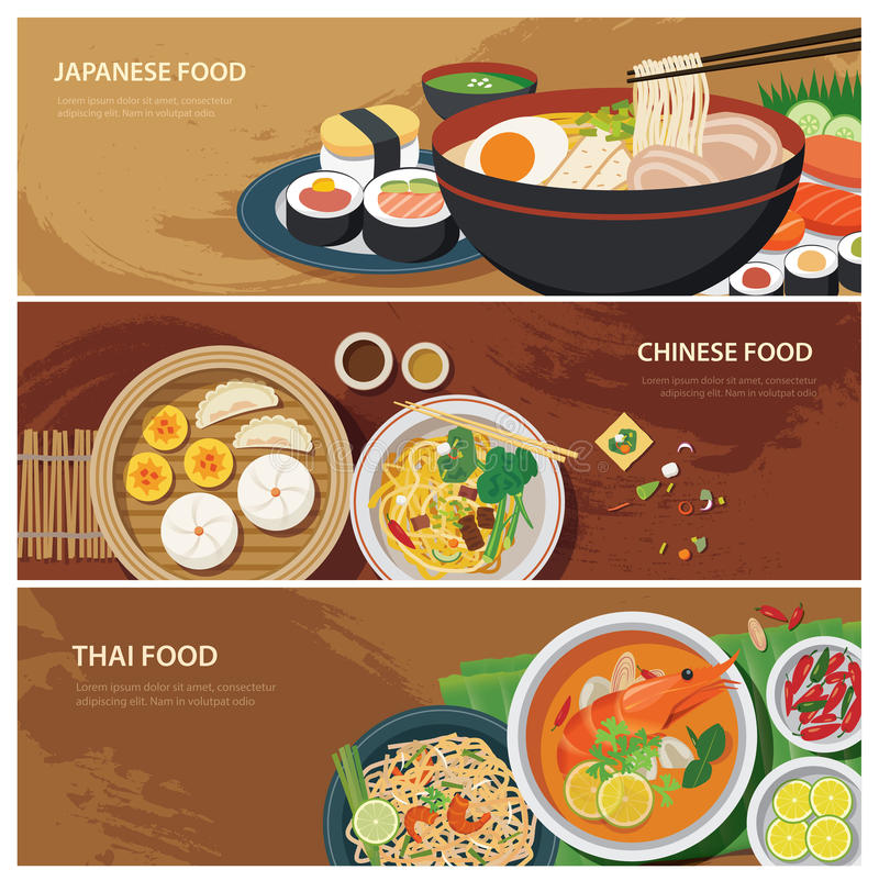 Free Asia Street Food Web Banner , Thai Food , Japanese Food Stock Photos - 53540113