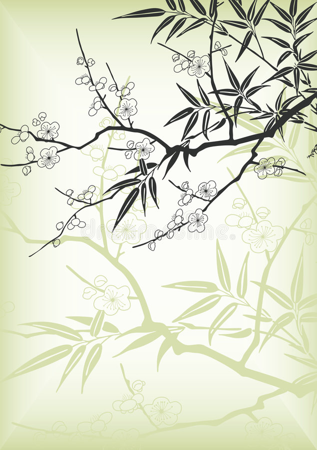 Asia style cherry blossom stock illustration