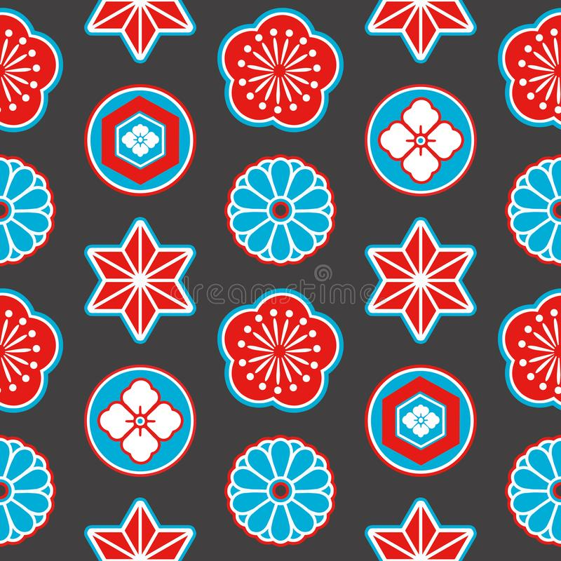 Asia style seamless pattern with red and blue Japanese ornamental flowers and geometrical elements on black background stock illustration