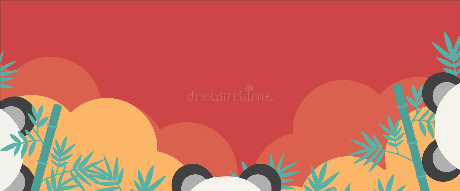 Asia style vector web banner with copy space, panda ears, bamboo, golden clouds on red background stock illustration