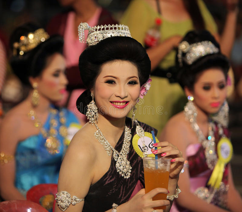 ASIA THAILAND ISAN YASOTHON TRADITION. Women on a Beauty Miss competition at the Bun Bang Fai Festival or Rocket Festival in the City of Yasothon in the Region stock photography