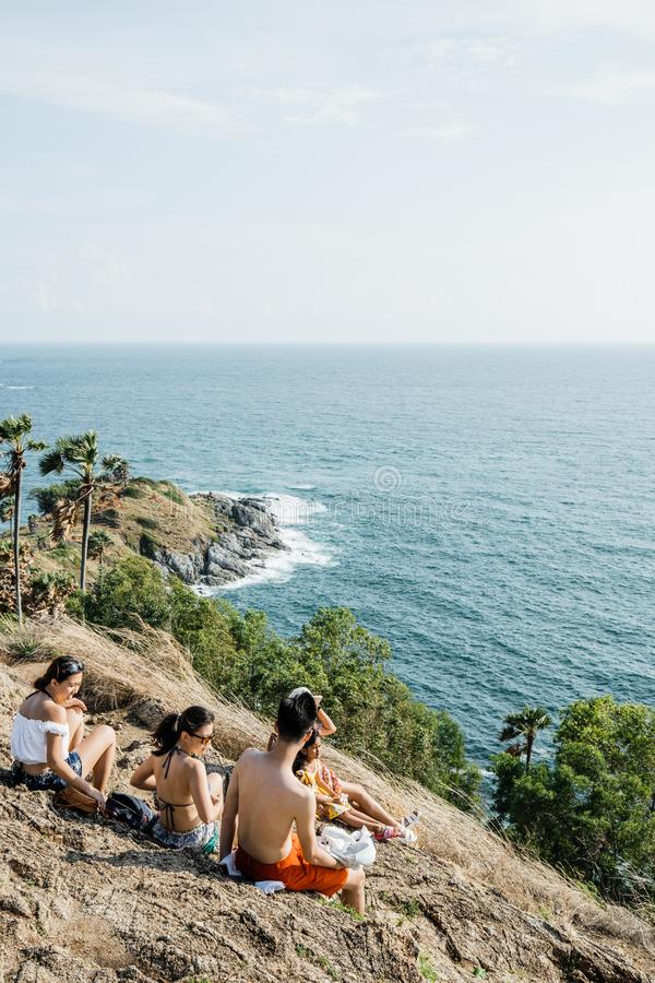 Asia Tourists looking to Seascape of Phuket Best View Point Sunset stock photography