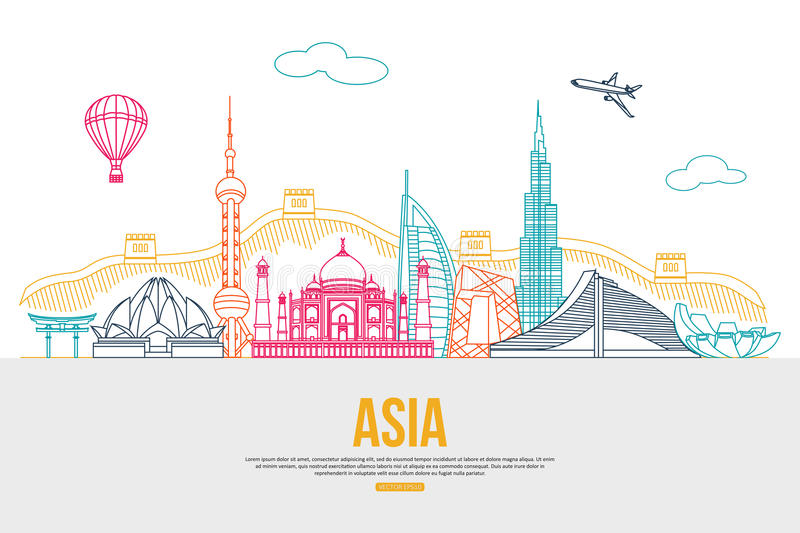 Asia travel background with place for text stock illustration