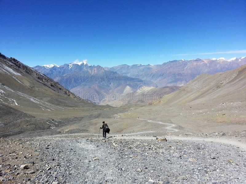 Trekker in solitude royalty free stock photography
