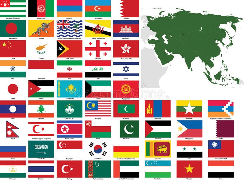 Asia Vector Flags and Maps royalty free illustration