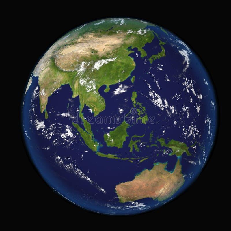 Asia vista de los elementos del ejemplo del espacio 3d de esta imagen equipados por la NASA stock de ilustración