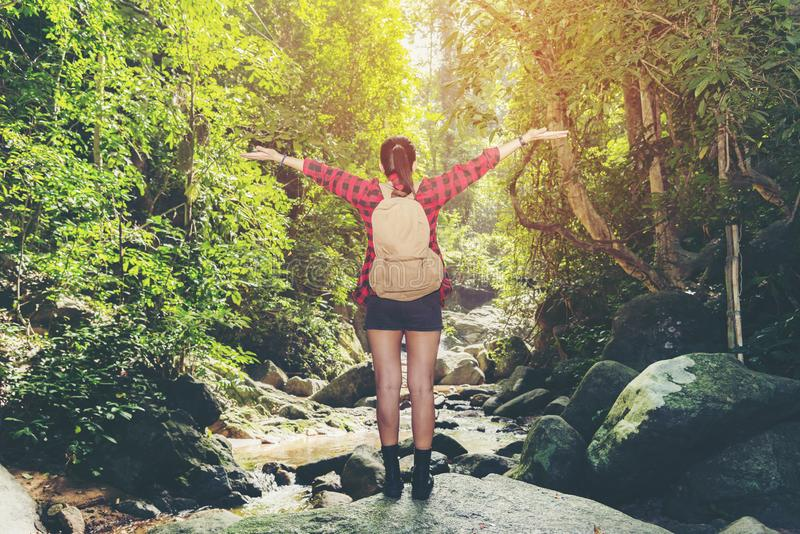 Asia woman hiker standing on forest trail outdoor and looking away. Female with backpack on hike destination and leisure in nature royalty free stock image