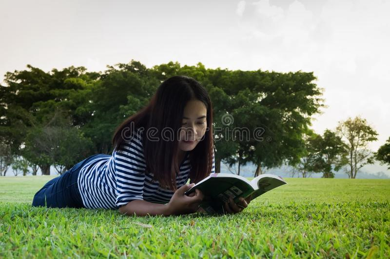 Asia women and learn stock images