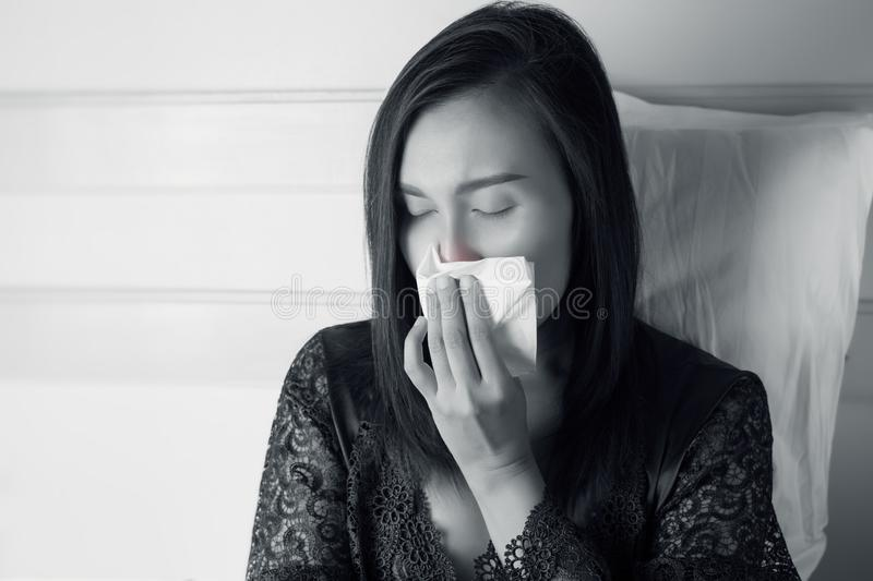 Asia women feeling unwell and sinus. royalty free stock image