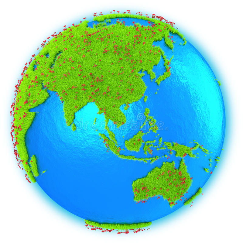 Download Asia Y Australia En La Tierra Del Planeta Stock de ilustración - Ilustración de ambiente, flora: 42436288