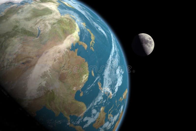 Asia y luna, ningunas estrellas ilustración del vector