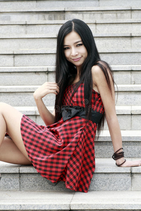 Download Asia young model on stairs stock photo. Image of chinese - 10369164