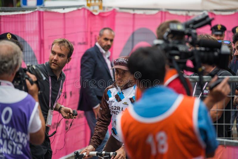 Asiago, Italien am 27. Mai 2017: Domenico Pozzovivo nach einer starken Bergetappe lizenzfreies stockfoto