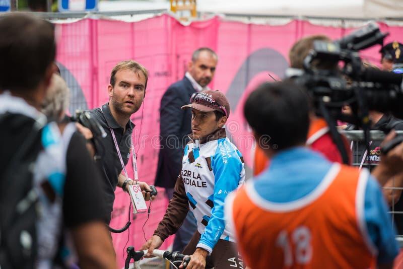 Asiago, Italien am 27. Mai 2017: Domenico Pozzovivo nach einer starken Bergetappe stockfoto