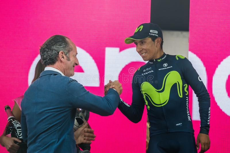 Asiago, Italy May 27, 2017: Nairo Quintana Movistar Team on the podium. After a hard montain stage of Tour of Italy 2017 that finish in Asiago royalty free stock photo