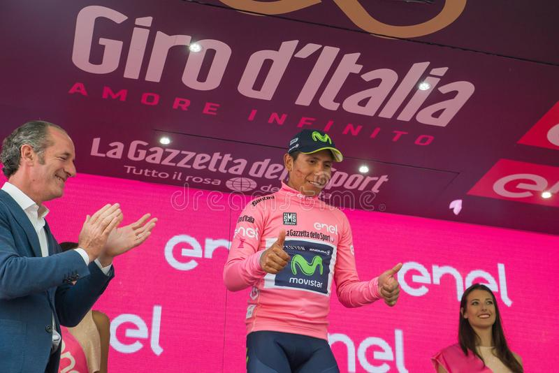 Asiago, Italy May 27, 2017: Nairo Quintana, in pink jersey, on the podium. Asiago, Italy May 27, 2017: Nairo Quintana Movistar Team, in pink jersey of the best stock photos