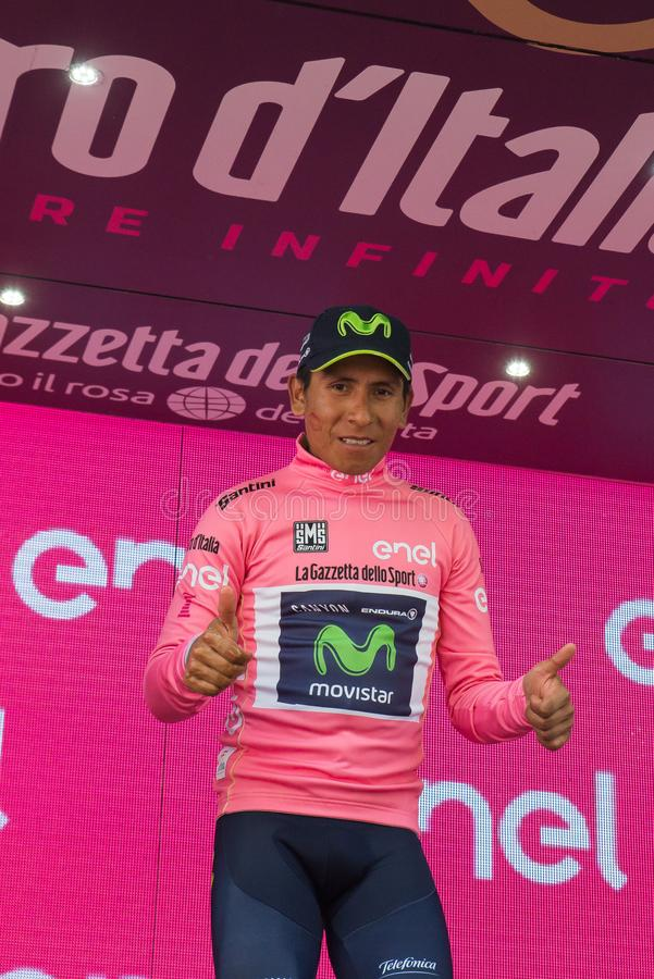 Asiago, Italy May 27, 2017: Nairo Quintana, in pink jersey, on the podium. After a tough mountain stage of the Giro D`Italia 2017 that arrive in Asiago after stock images