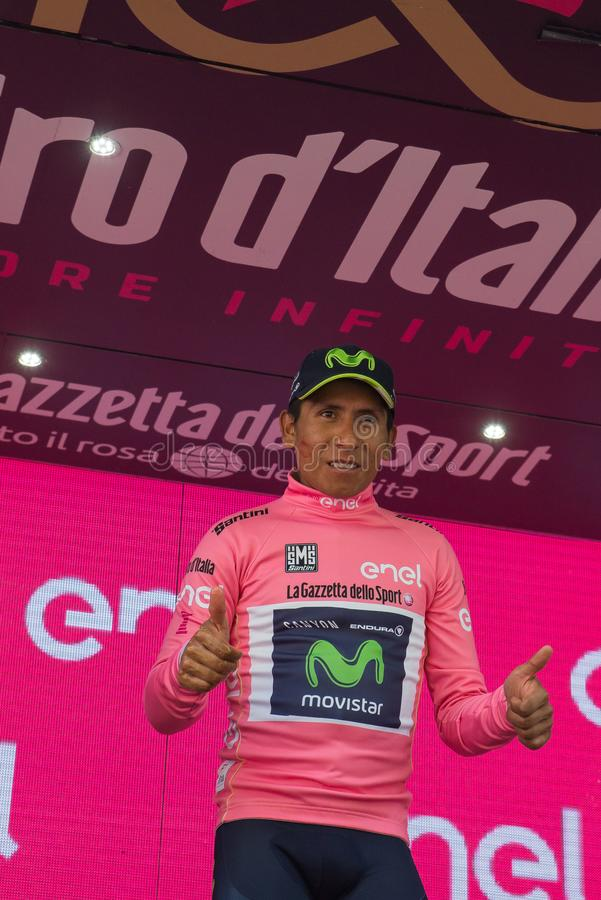 Asiago, Italy May 27, 2017: Nairo Quintana, in pink jersey, on the podium. After a tough mountain stage of the Giro D`Italia 2017 that arrive in Asiago after stock image