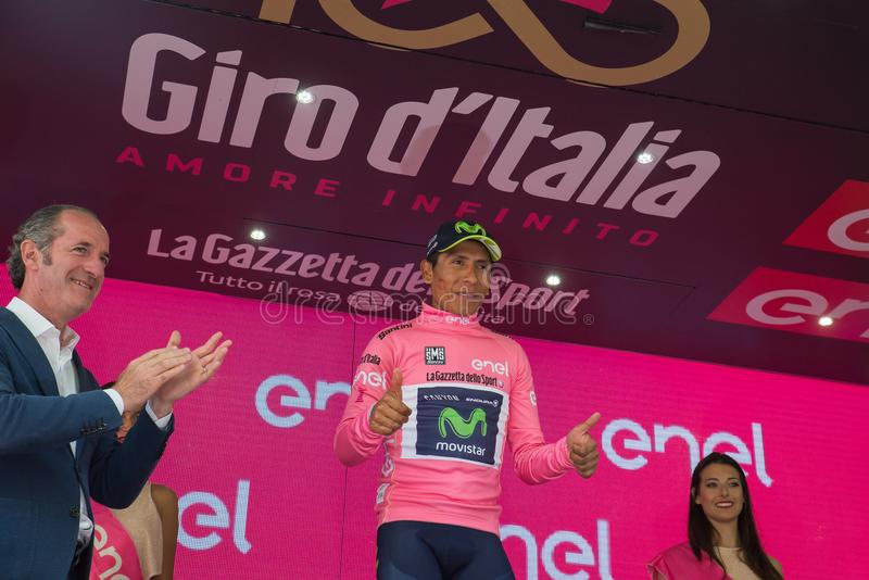Asiago, Italy May 27, 2017: Nairo Quintana, in pink jersey, on the podium. Asiago, Italy May 27, 2017: Nairo Quintana Movistar Team, in pink jersey of the best royalty free stock image