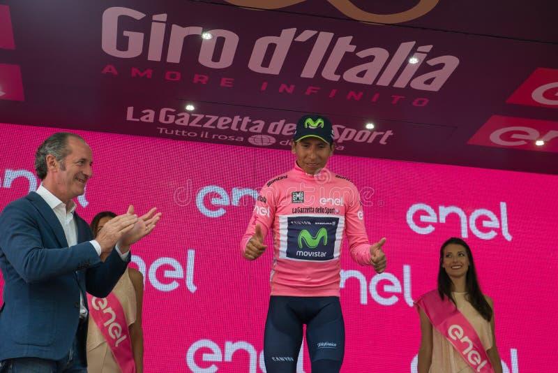 Asiago, Włochy Maj 27, 2017: Nairo Quintana w różowym bydle na podium, zdjęcie stock