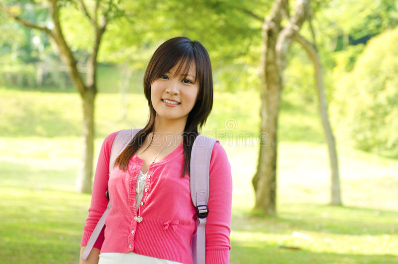 Download Asian adult student stock photo. Image of backpack, nature - 25983820