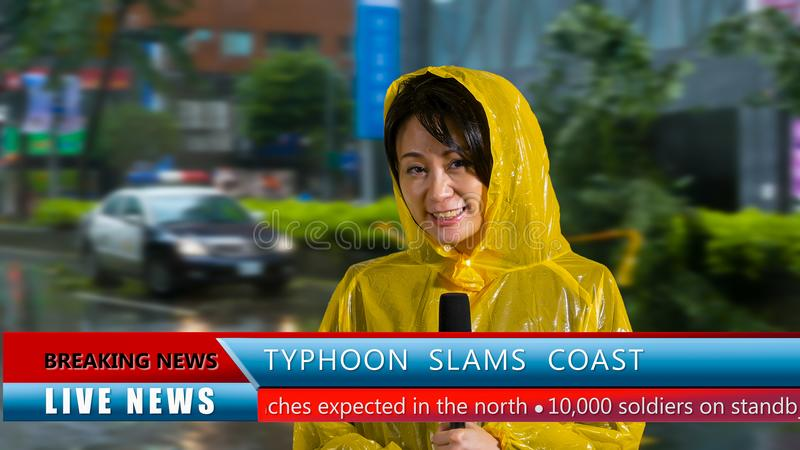 Weather reporter reporting on storm. Asian American weather reporter live report in storm, police barricading off perimeter stock photography