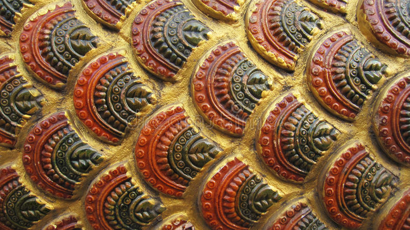 Asian ancient golden giant snake scale pattern. Closeup royalty free stock photography