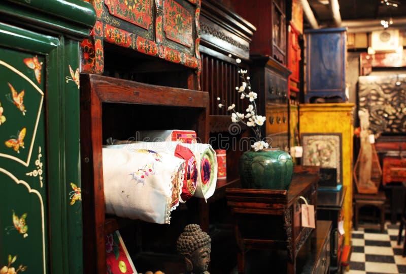 Asian antique furniture store stock photo