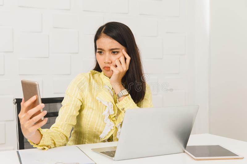 Asian architect lady at office stock image
