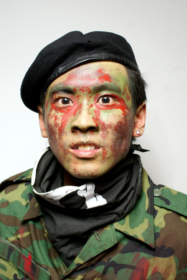 Asian army commando portrait. Asian army commando fierce portrait royalty free stock image
