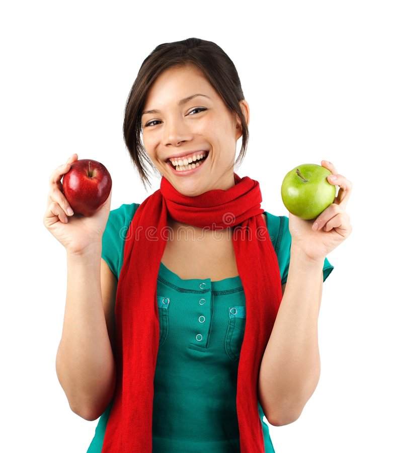 Asian Autumn apple girl royalty free stock images