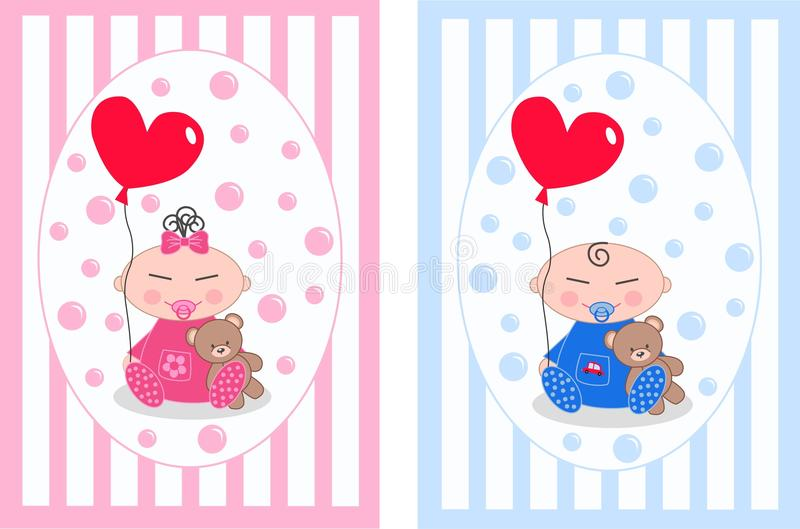 Asian babies. Cute asian baby boy and baby girl royalty free illustration