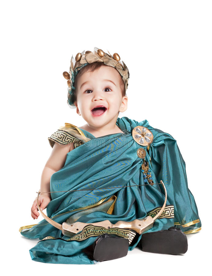 Asian baby boy in a amoretto fancy dress royalty free stock image