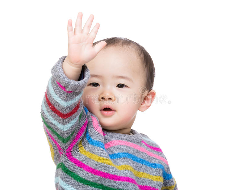 Asian baby boy hand up royalty free stock photography