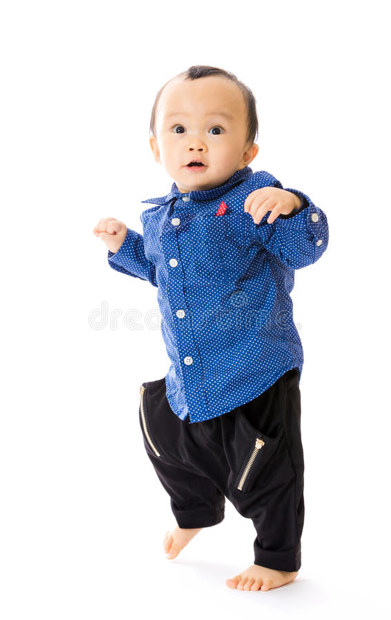 Asian baby boy learn to walk stock image