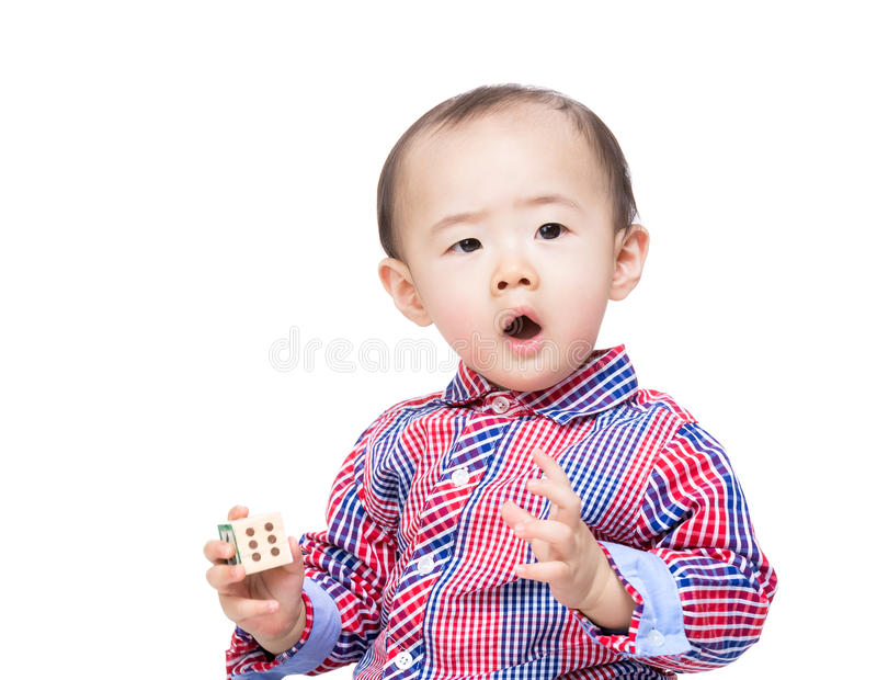 Asian baby boy with wooden toy block. Isolated on white royalty free stock photography