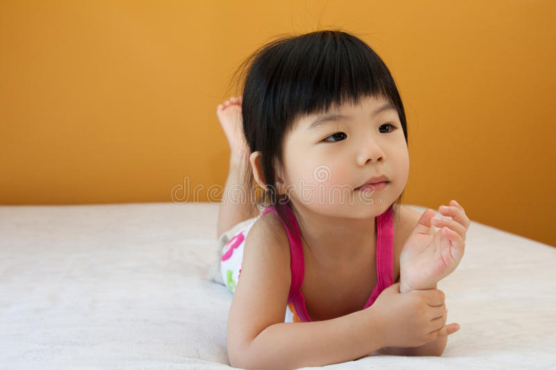 Asian baby child girl. Portrait of a little Asian baby child girl stock photography