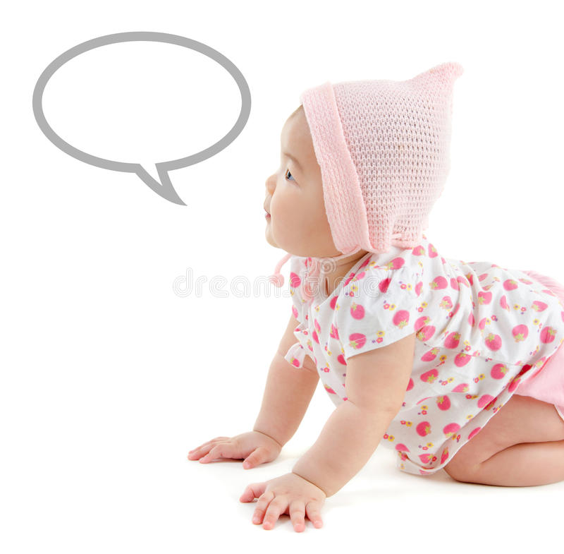 Asian baby girl announcement stock image