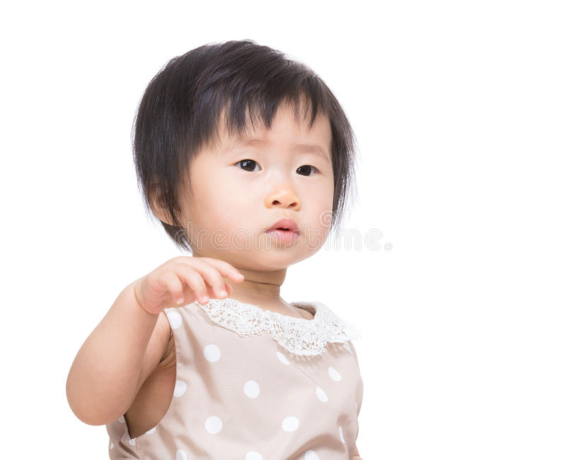 Asian baby girl hand up royalty free stock images