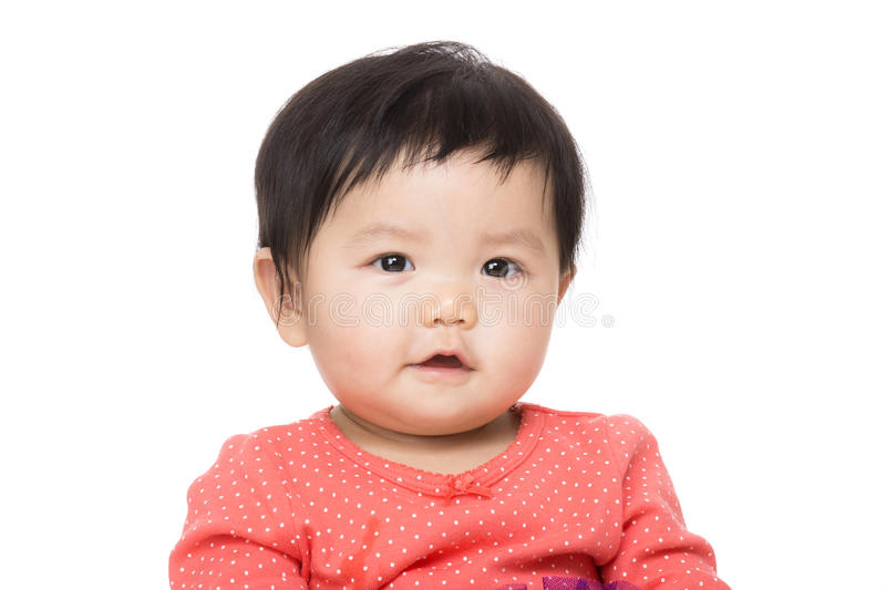 Asian baby girl. Isolated on white royalty free stock photo