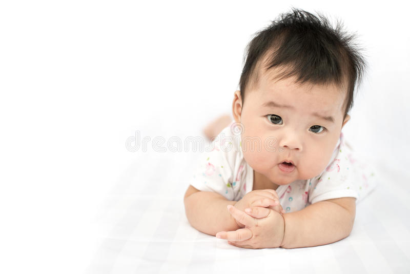 Asian baby girl on isolated white background royalty free stock images