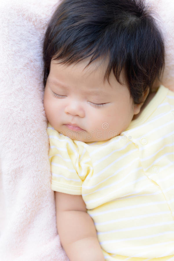 Asian baby girl sleep royalty free stock photos