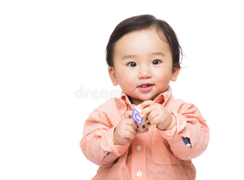 Asian baby play toy block. Isolated on white stock images