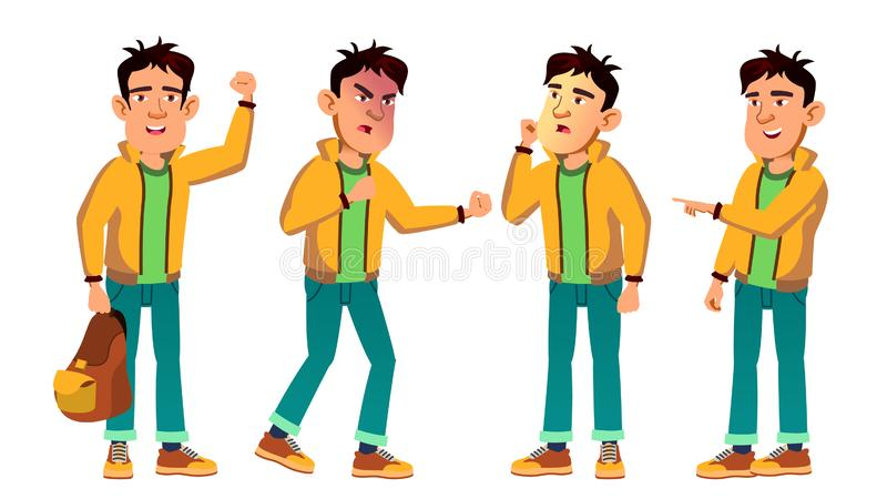 Asian Bad Boy Kid Poses Set Vector. High School Child. For Web, Poster, Booklet Design. Isolated Cartoon Illustration. Asian Bad Boy Kid Poses Set Vector. High stock illustration