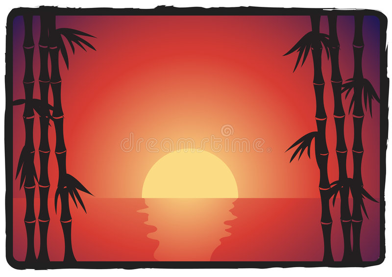 Asian bamboo sunset vector illustration