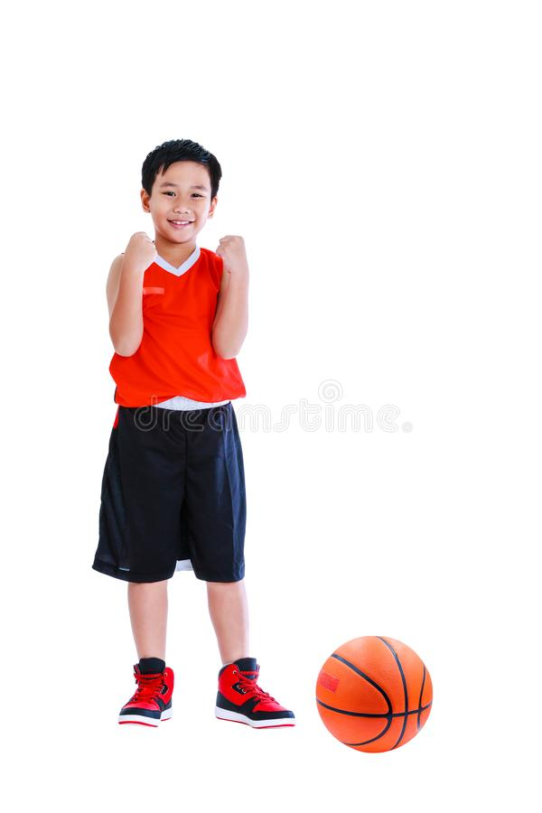 Asian basketball player posing with ball. Isolated on white back royalty free stock image