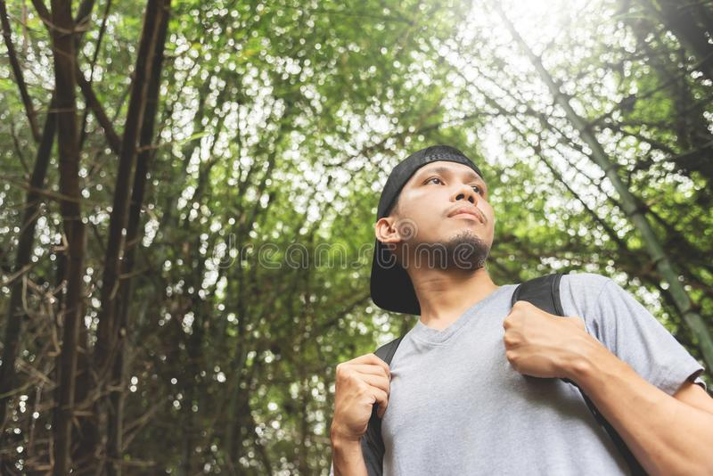 Asian beard man traveler with backpack. royalty free stock photos