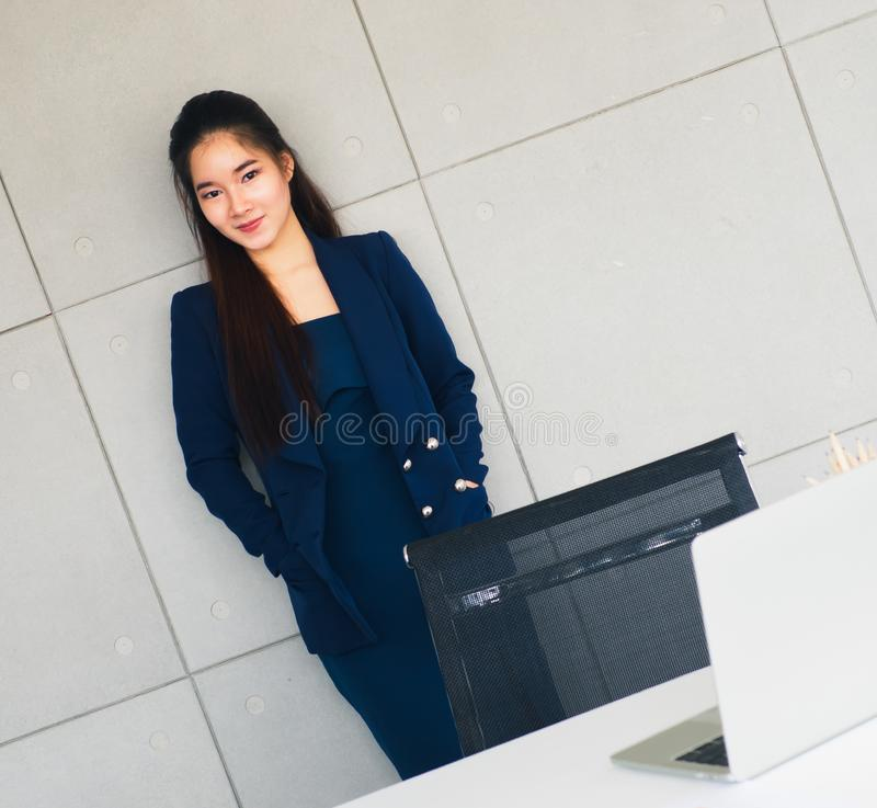 Asian beautiful business woman smile so happy stock photo