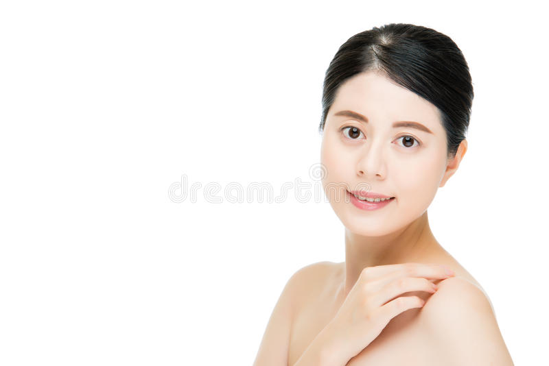 Asian beautiful face of young adult woman clean fresh skin stock photos